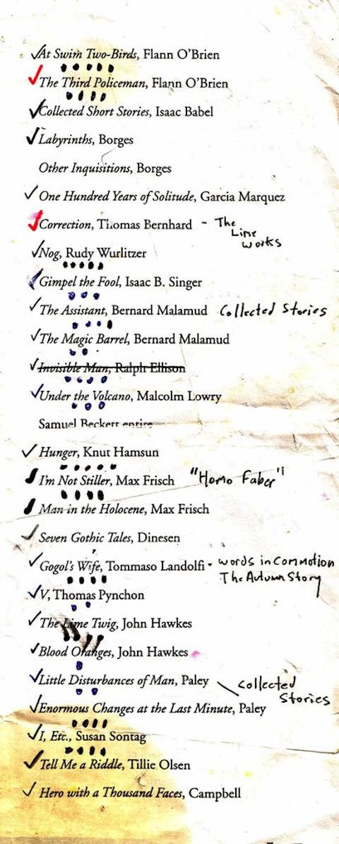 Donald Barthelme's Reading List
